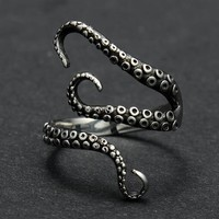 High Quality Titanium Steel Octopus Ring Opened Adjustable Resizable Finger Rings For Men Women Vintage Gothic Steampunk Jewelry