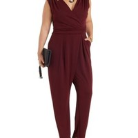 Plus Size Oxblood Sleeveless Wrap Jumpsuit by Charlotte Russe