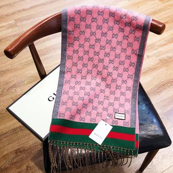 GUCCI fashionable hot men and women printed logo red and green stripes patchwork color patchwork scarf
