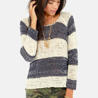 O'Neill Emmerson Navy Blue and Ivory Striped Sweater