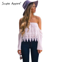 sexy fringe off shoulder lace blouse women Loose long sleeve chiffon blouses Summer style white blusas crop top