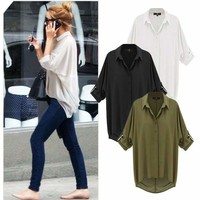 Women Casual Down Collar Oversize Loose Chiffon Shirt Top Blouse