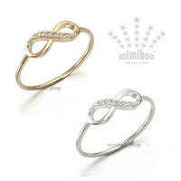 Infinity Eternity Eternal Symbol Love Forever CZ Mini Size Thin Band Gift Ring