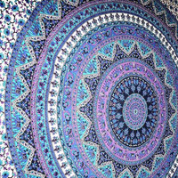 Large Indian Mandala Tapestry Hippie Hippy Wall Hanging Throw Bedspread Dorm Tapestry Decorative Wall Hanging , Picnic Beach Sheet Coverlet (with a surprise gift )