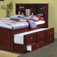Landon Full Captains Bed with Bookcase Headboard