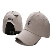 Beige Polo Embroidered Unisex Adjustable Cotton Sports Cap Hat