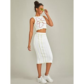 SHEIN Flower Embroidered Top-stitching Lettuce Trim Tank Top & Pencil Skirt