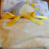 Large minky and cotton blanket and taggie toy, reversible, yellow, jungle print, baby blanket, baby gift, nursery bedding,minky blanket,