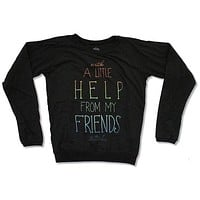 The Beatles A Little Help Black Long Sleeve Fashion Crew Shirt