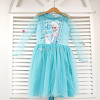 2014 Hot Frozen Lace Gauze Dress Kids Children Clothing Princess Elsa Tulle Yarn Dresses Child Kid Snow Queen Dressy Blue. jk4563