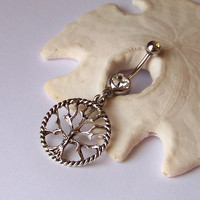 Belly Button Ring - Piercing - Curved Barbell - Navel Piercing - Tree of Life Tibetan Silver Pendant