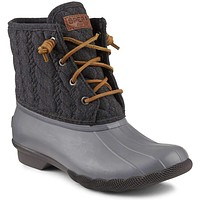 Women's Saltwater Rope Embossed Duck Boot in Grey by Sperry