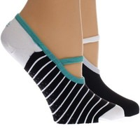 Challenge Striped Nylon Yoga Socks w/Strap & Grippers 2 pack (Black, Size 6-12)