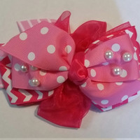 Pink and WHite Hair Bow
