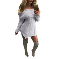 Fashion Women Autumn Winter Warm Long Sleeve Knitted Pullover Sexy Off Shoulder Slit Hem Loose Long Sweater Dress Plus Size