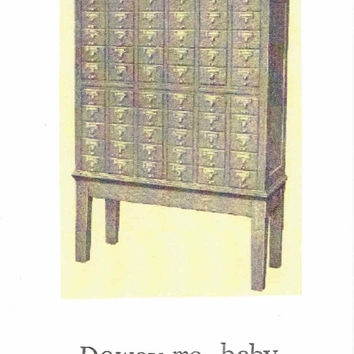 Dewey Me Baby Card Catalogue Card | Library Love Funny Librarian Valentine Weird Nerdy Pun Vintage Hipster Humor