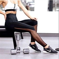 Fashion Net yarn Splicing Creative personality Exercise Fitness Gym Yoga Running Leggings Sweatpants