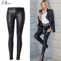 2019 Winter Plus Size Stretch PU Leather Pants For Women High Waist Joggers Womens Trousers Pencil Skinny Waisted Female Pants