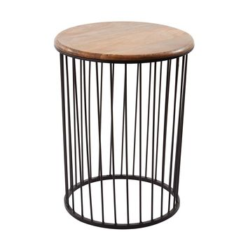 Teak And Metal Carousel Table - Tall Bronze,Teak