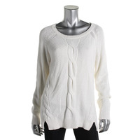 Style & Co. Womens Cable Knit Front Slit Sweater