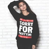 SORRY FOR PARTYING CREW FLEECE SWEATSHIRT
