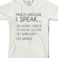 Multi Lingual-Unisex White T-Shirt