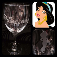 Personalised Disney Princess Jasmine Glass With Free Name Engraved In Disney Font. Totally Unique Gift For Any Disney Fan!