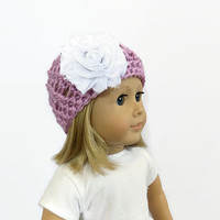 Doll Hat, Purple Doll Beanie, 18 Inch Doll Clothes, Knit Doll Hat