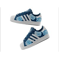 """Adidas"" Fashion Shell-toe Flats Sneakers Sport Shoes Print Blue flower"
