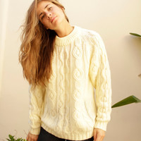 CREAM cable knit sweater SLOUCHY oversize warm cozy winter WEAR