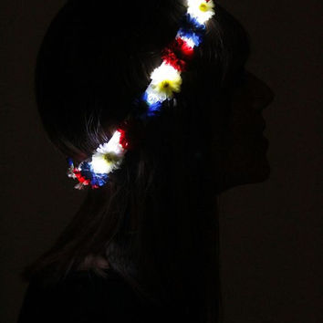 Red White And Blue LED flower crown