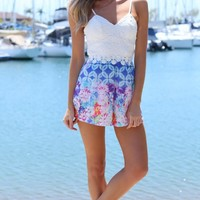 ELECTRIC BLOOM PLAYSUIT - Lace and floral print playsuit