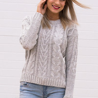 Lenna Cable Knit Grey Sweater