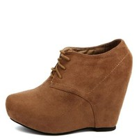 Lace-Up Platform Wedge Booties by Charlotte Russe - Cognac