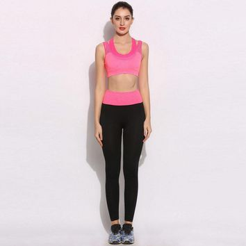 collar Round cup Shockproof Bra Fixed Ankle Sports Mid Underwire Full and Length Two-piece Set Pants Women Fake No