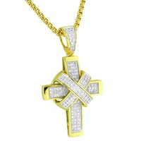 Ribbon Design Cross 14k Gold Plated Lab Diamonds  Stainless Steel Necklace