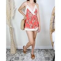 Final Sale - Vintage Inspired Floral Crochet Lace Romper in Coral