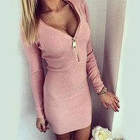 2017 Autown Cheap Clothes Women Fashion Sheath Dresses Zipper Style Slashed Bottoming Dresses Ladies Sexy V-neck One Piece Dress