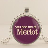 """You had me at Merlot, purple, 1"""" glass and metal Pendant necklace Jewelry."""