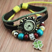 MagicPieces Handmade Leather Belt Friendship Bracelet Watch for Women-Clover Pendant