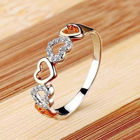 MULTI HEART SHAPPED 925 STERLING SILVER ENGAGEMENT AND WEDDING RING FOR HER