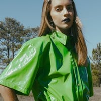 Neon Green Oversized Vinyl Shirt