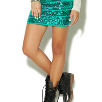 Rugby Sequin Stripe Mini Skirt | Wet Seal