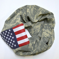 Digital Military Camo Infinity Scarf, American Flag Military Scarf