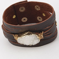 Wide Leather Cuff Bracelet with Druzy Stone - Brown/White