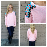 Pink Embroidered Aztec Shoulder Sweater Top