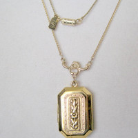 Vintage 1928 Gold Tone Locket and Chain