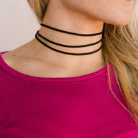 Triple Threat Choker Necklace In Black