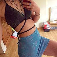 Fashion Hollow Crisscross Bandage Halter Backless Bikini Small Vest Tops
