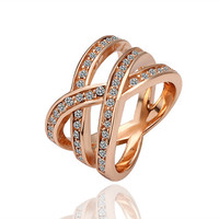 Lady's Brass Rose Gold Plated Dos Equis Infinity Forever Ring Size 8 with Swarovski Elements Clear Stones